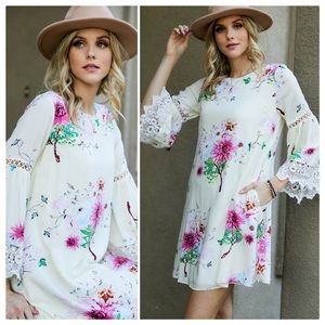 Margo Lace and Crochet Floral Shift Dress